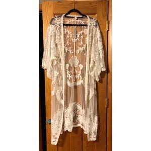 Francesca's White Lace Kimono